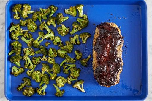 Roast the broccoli & meatloaf