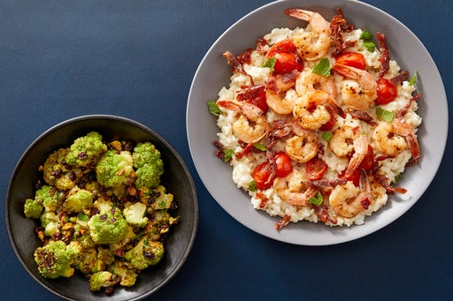 Amanda Freitag's Seared Shrimp & Mascarpone Risotto with Crispy Prosciutto & Sicilian-Style Cauliflower