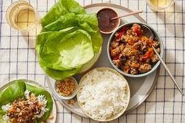 Honey-Sambal Turkey Lettuce Cups with Sweet Peppers & Mushrooms