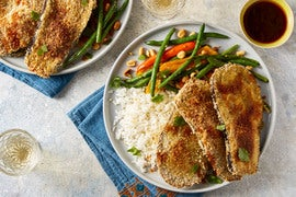 Katsu-Style Eggplant with Stir-Fried Green Beans & Sweet Peppers