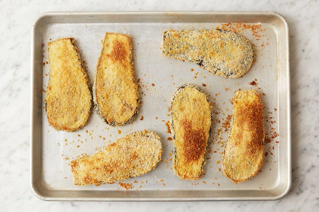 Bake the eggplant: