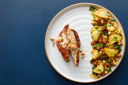 Cajun Chicken & Pepper-Olive Mayo with Chorizo & Vegetable Sauté