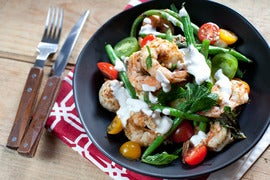 Za'atar Shrimp & Green Beans with Lemon Yogurt over Couscous
