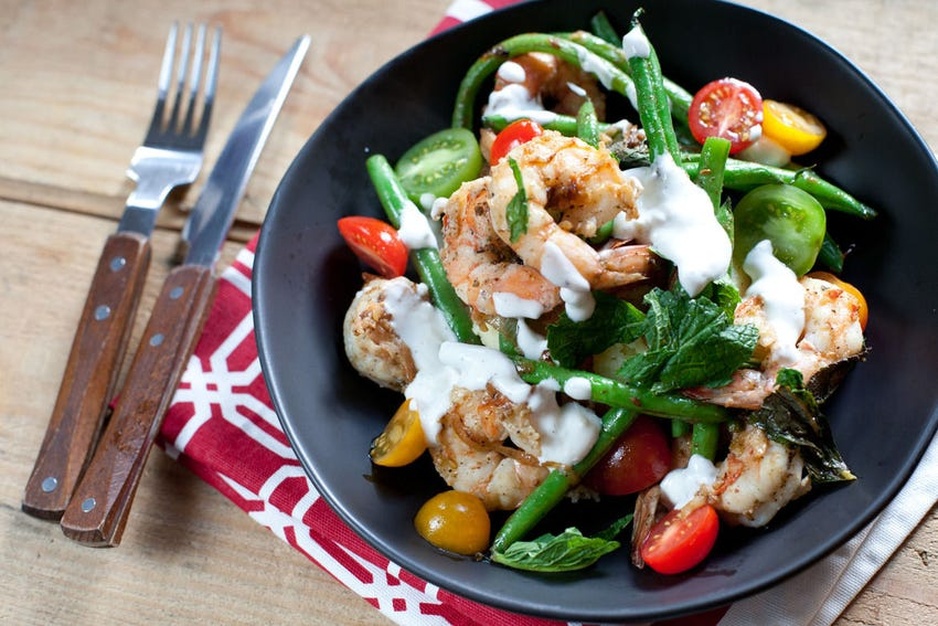 Za'atar Shrimp & Green Beans with Lemon Yogurt over Couscous