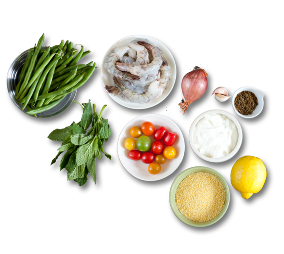 Za'atar Shrimp & Green Beans with Lemon Yogurt over Couscous ingredients