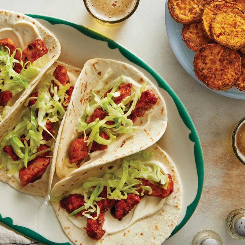 Indian-Style Chicken Tacos with Vadouvan-Roasted Sweet Potatoes