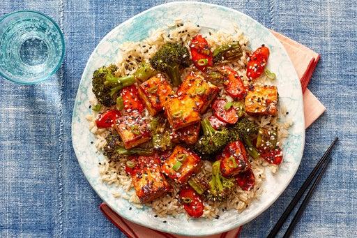 Sesame-Ponzu Tofu & Vegetables over White Rice