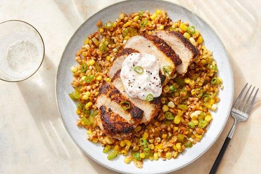 Cajun-Style Pork & Farro Salad with Pepper Yogurt