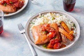 Seared Salmon & Tomato Fondue with Fennel Rice & Carrots