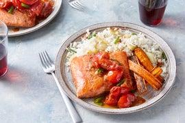Seared Salmon & Tomato Fondue with Fennel Rice & Carrots