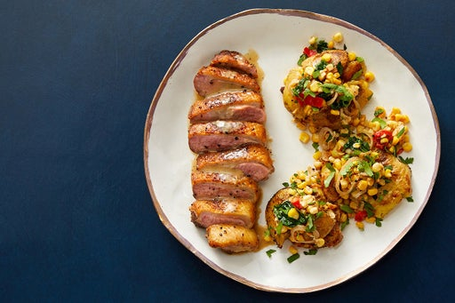 Seared Duck & Dijon Pan Sauce with Crispy Smashed Potatoes & Corn