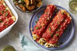 Sweet Corn & Ricotta Cannelloni with Sautéed Summer Squash