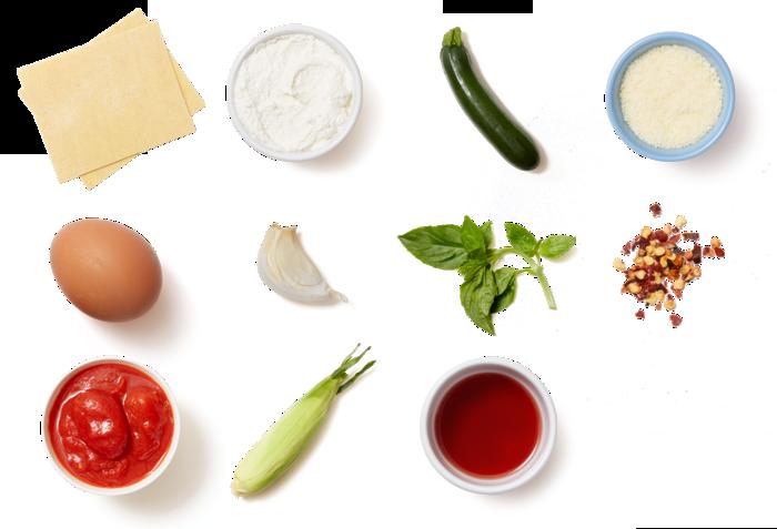 Corn & Ricotta Cannelloni with Sautéed Summer Squash & Basil