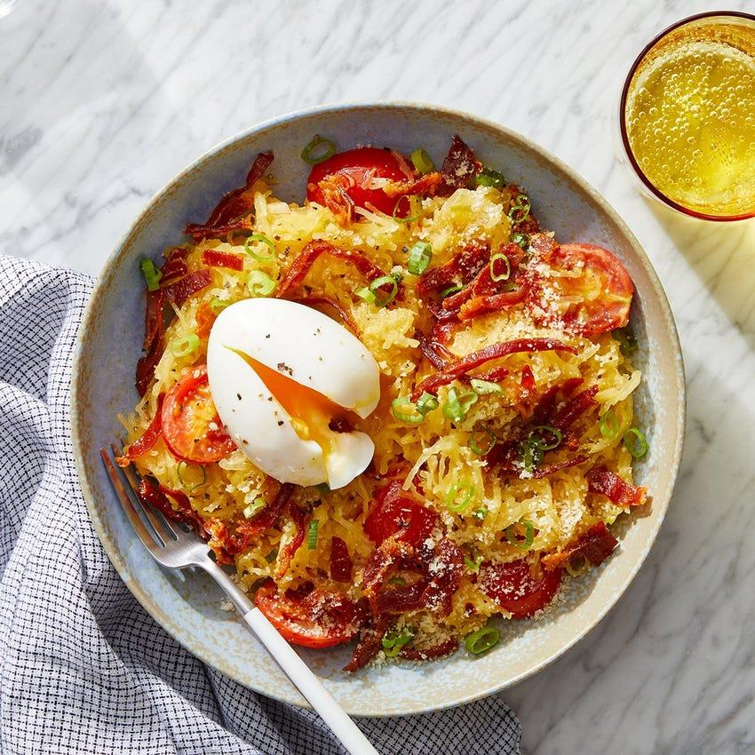 Spaghetti Squash & Crispy Prosciutto with Tomatoes & Soft-Boiled Eggs
