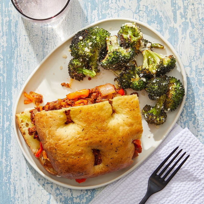 Beyond Beef™ & Fontina Sandwiches with Caesar-Style Broccoli