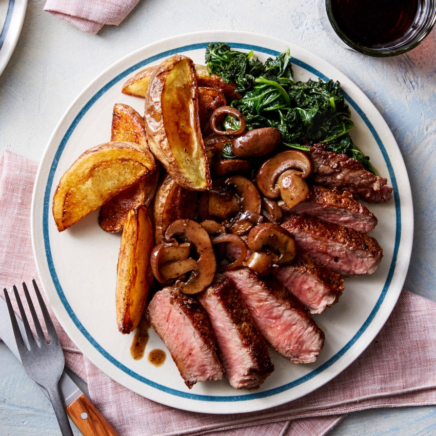 Seared Steaks & Roasted Potatoes with Balsamic-Glazed Mushrooms