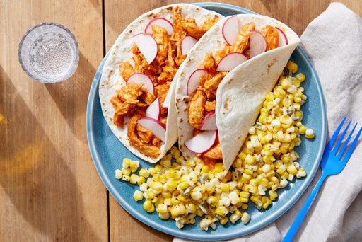 Shredded Guajillo Chicken Tacos with Creamy Corn & Jalapeño