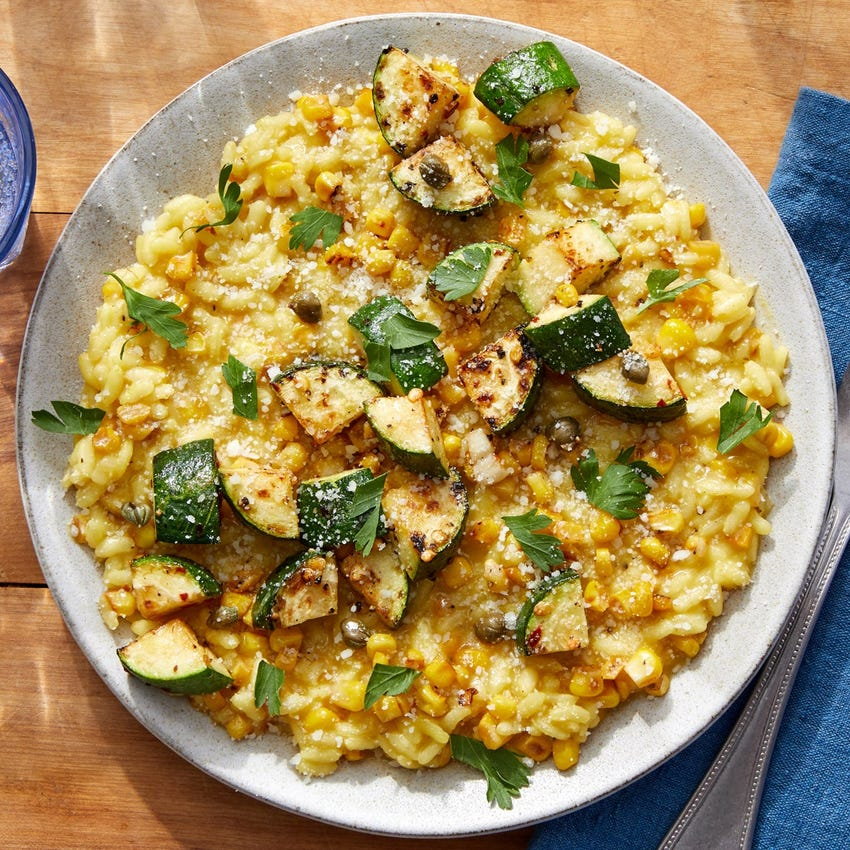 Summer Vegetable Risotto with Saffron & Parsley