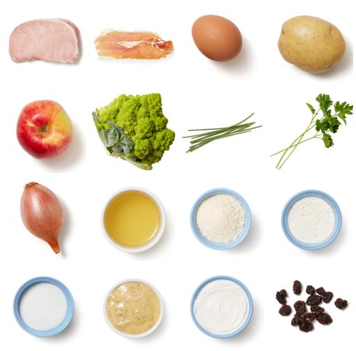 Pork Schnitzel & Chive Sour Cream with Prosciutto-Potato Salad & Roasted Romanesco