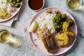 Seared Barramundi & Sushi Rice with Avocado Tempura & Roasted Broccoli