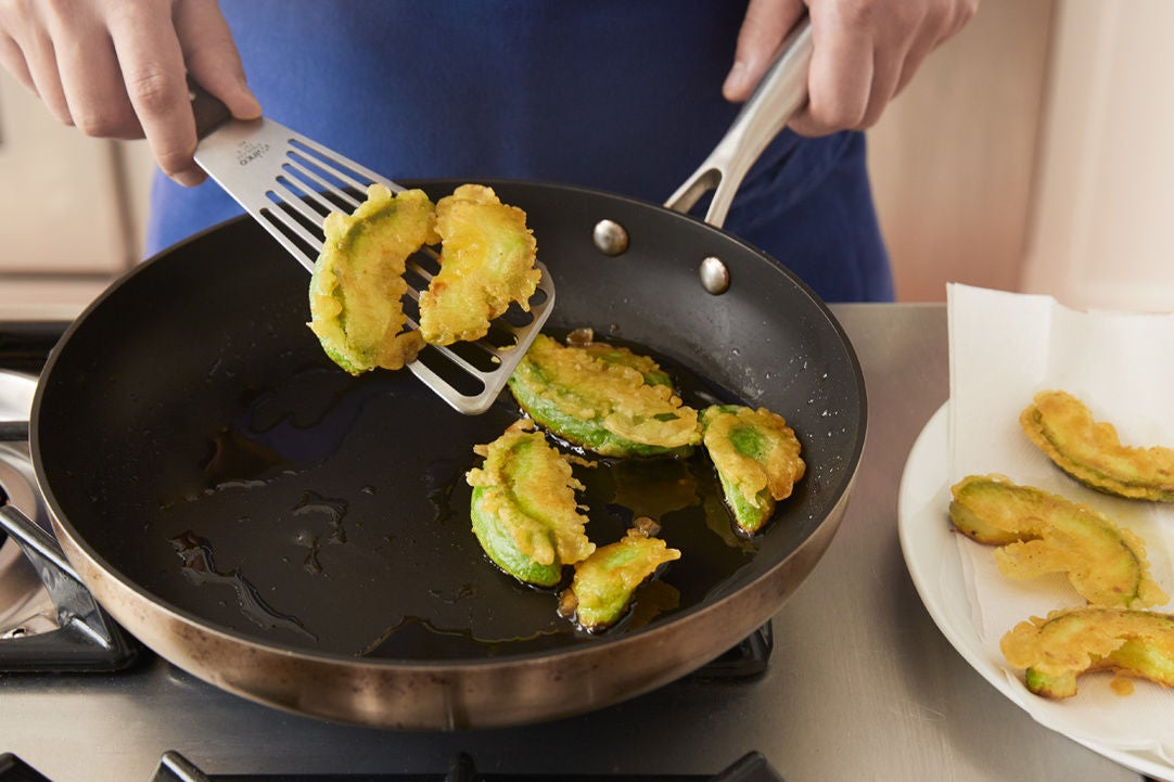Make the avocado tempura: