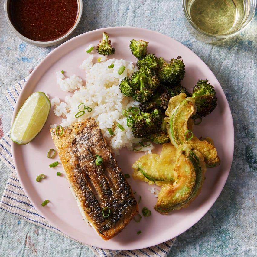 Seared Barramundi & Sushi Rice with Avocado Tempura & Roasted Broccoli