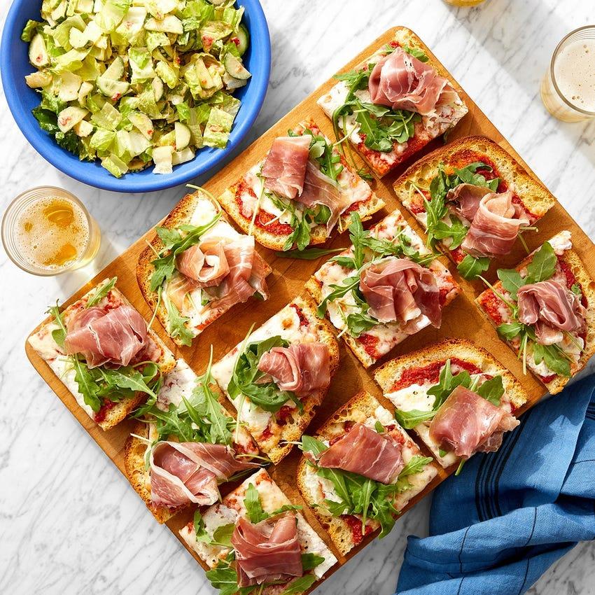 Prosciutto & Arugula Focaccia Pizza with Spicy Ranch-Dressed Salad