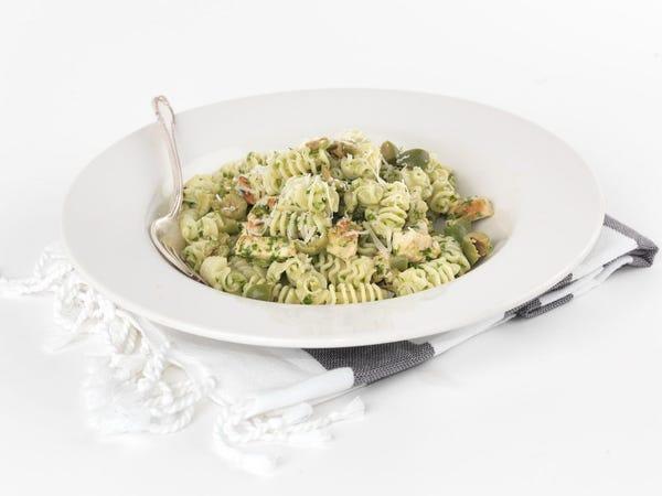 Arugula Pesto Pasta with Chicken and Castelvetrano Olives