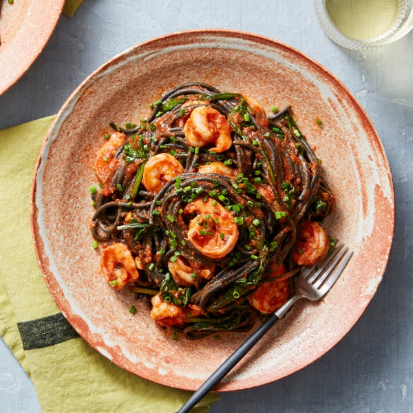 Shrimp & Squid Ink Spaghetti with Spinach & Tomato Sauce