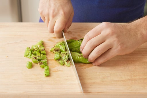 Blister & chop the peppers: