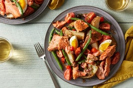 Seared Salmon & Mustard Vinaigrette with Niçoise-Style Salad