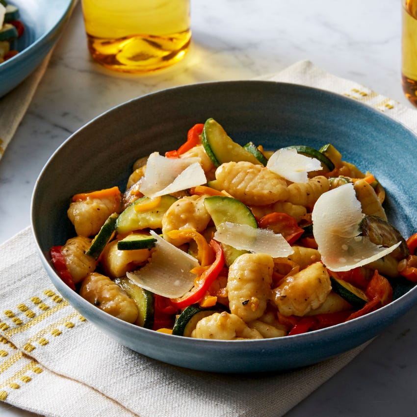 Fresh Gnocchi & Summer Squash with Tomatoes & Sweet Peppers