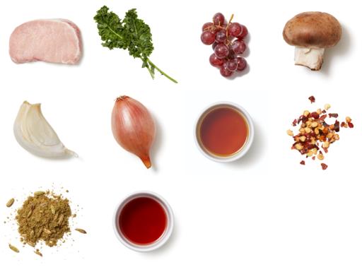 Tuscan-Spiced Pork & Grape Agrodolce with Kale & Mushrooms