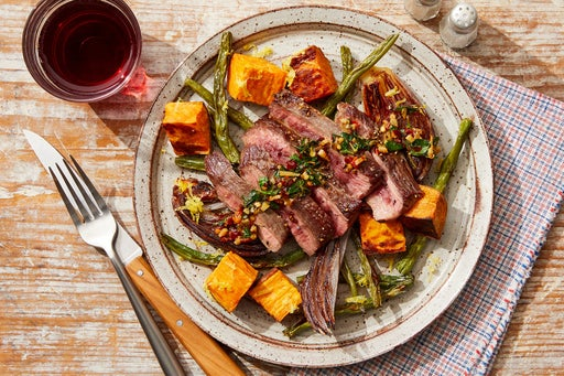 Seared Steak & Lemon Salsa Verde with Roasted Vegetables