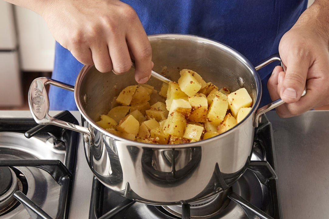 Make the potato salad & plate your dish: