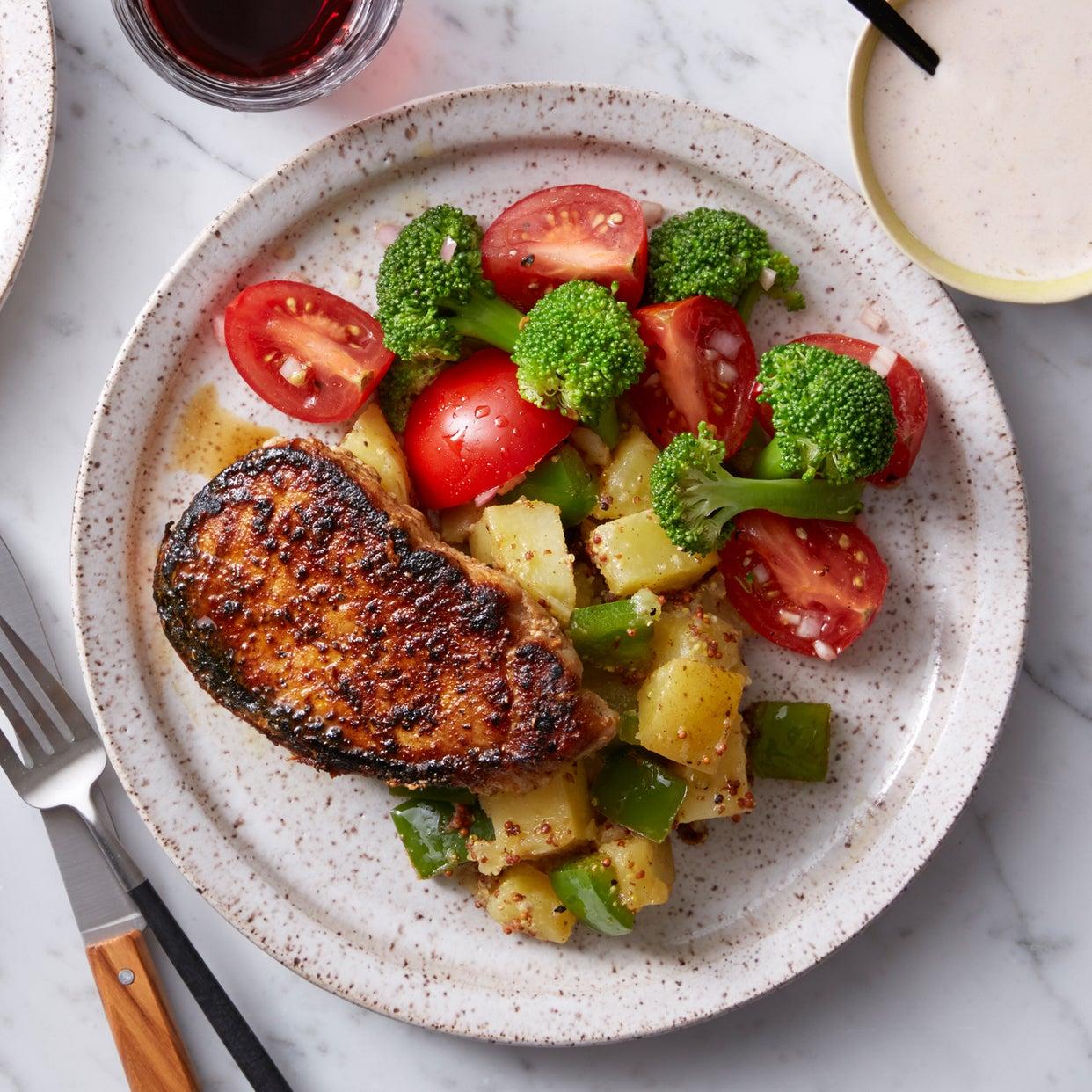 Barbecue Spice-Rubbed Pork Chops with Potato Salad & Marinated Broccoli