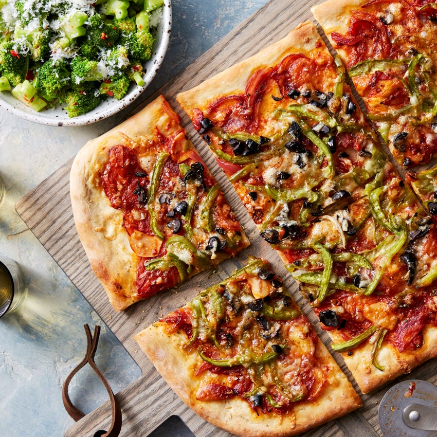 Pepper, Onion, & Olive Pizza with Spicy Broccoli