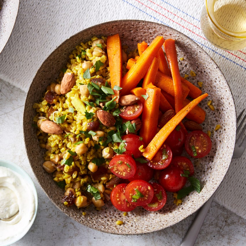 Spiced Freekeh & Chickpea Bowls with Glazed Carrots & Labneh