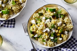 Fresh Radiatore Pasta & Basil Pesto with Corn & Summer Squash