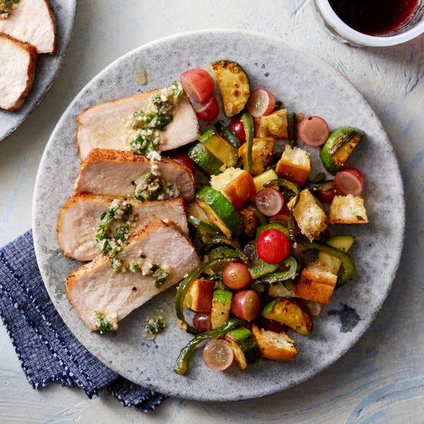 Roasted Pork & Salsa Verde with Summer Squash Panzanella Salad