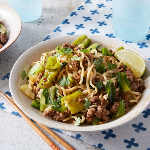 Sesame Beef Lo Mein with Bok Choy & Shishito Peppers