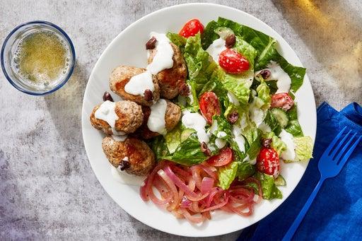 Turkey Kofta & Tzatziki-Dressed Salad with Pickled Onion