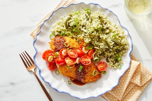 Deviled Chicken & Honey-Chipotle Sauce with Cilantro Rice & Tomatoes