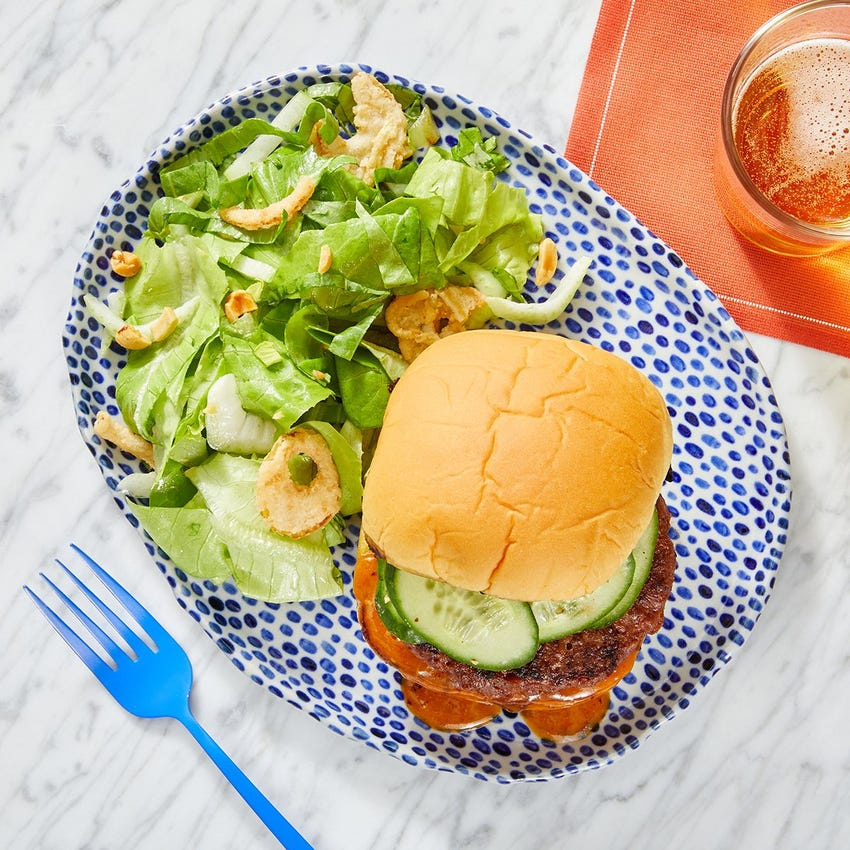 Beyond Burger™ & Spicy Peanut Sauce with Bok Choy & Crispy Onion Salad