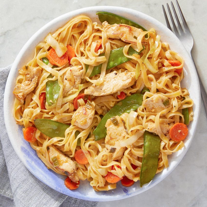 Chicken & Wonton Noodle Stir-Fry with Snow Peas, Carrots & Cabbage