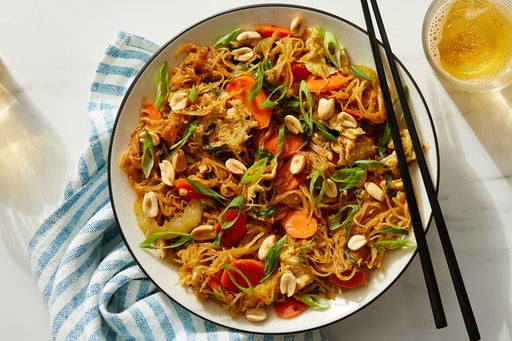 Spaghetti Squash Stir-Fry with Vegetables, Eggs & Tamarind-Peanut Sauce