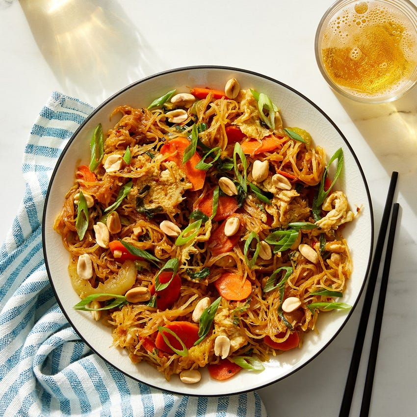 Spaghetti Squash Stir-Fry with Vegetables, Eggs & Tamarind-Peanut Sauce