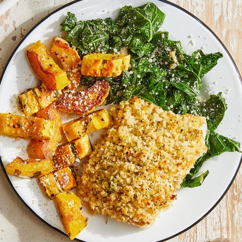 Parmesan & Panko-Crusted Cod with Roasted Squash & Garlic Kale