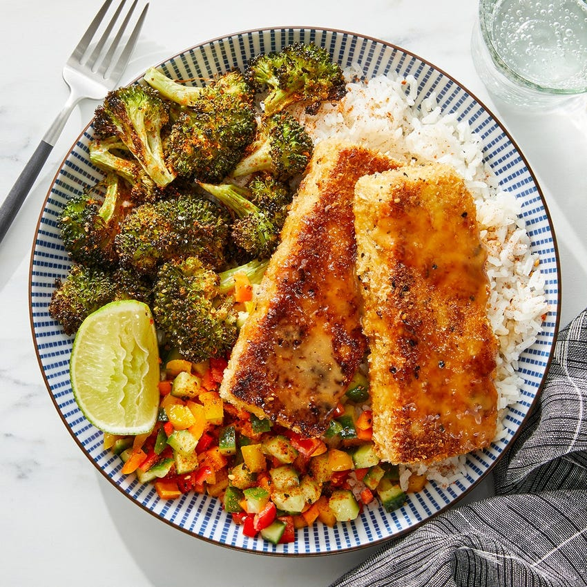 Tofu Katsu & Soy Mayo with Marinated Vegetables & Roasted Broccoli