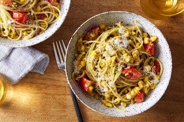 Basil Pesto Spaghettini with Corn & Tomatoes